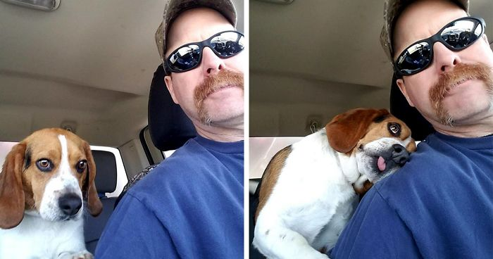 Image result for Man Rescues A Beagle From Being Euthanized In A Shelter, The Dog Can't Contain His Gratitude, Hugs His Rescuer