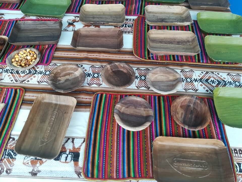 Plates and trays, some made with paper and cardboard cellulose